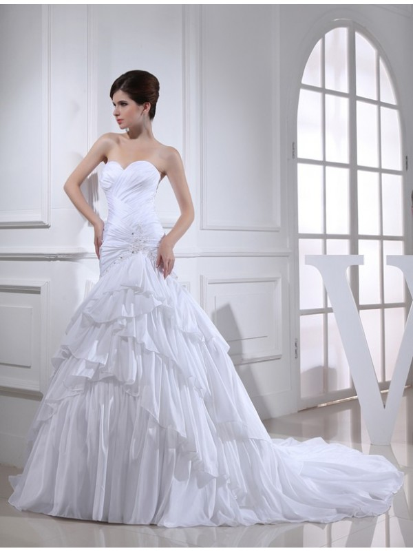 Modest Mermaid Sweetheart Sleeveless Long Taffeta Wedding Dress