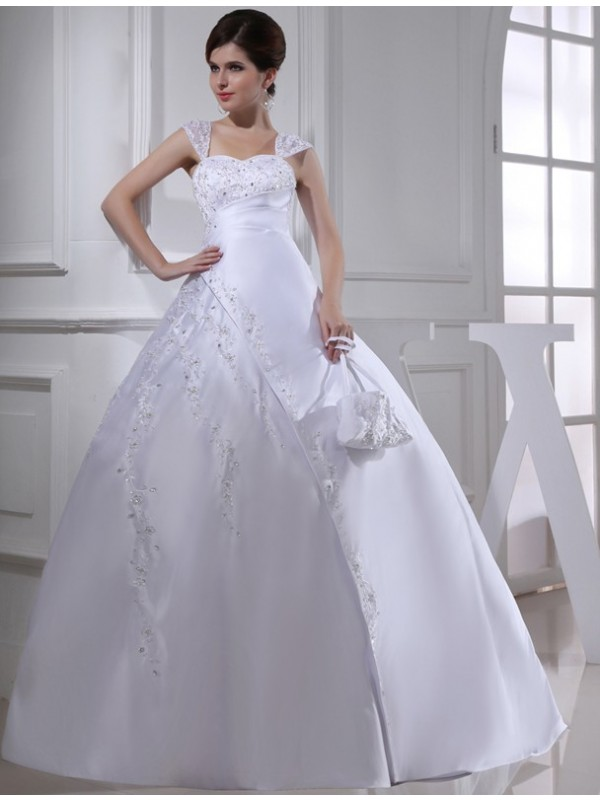 Modest Ball Gown Sleeveless Straps Long Satin Wedding Dress