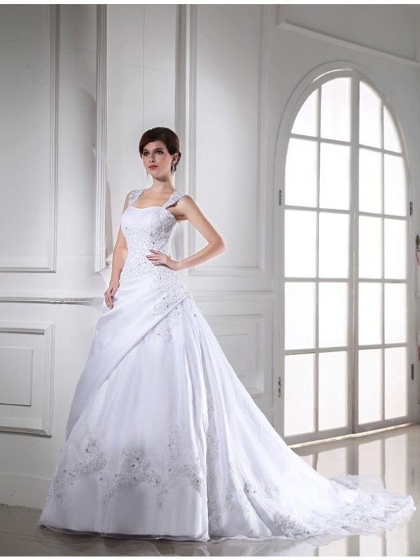 Modest Ball Gown Sleeveless Long Satin Organza Wedding Dress