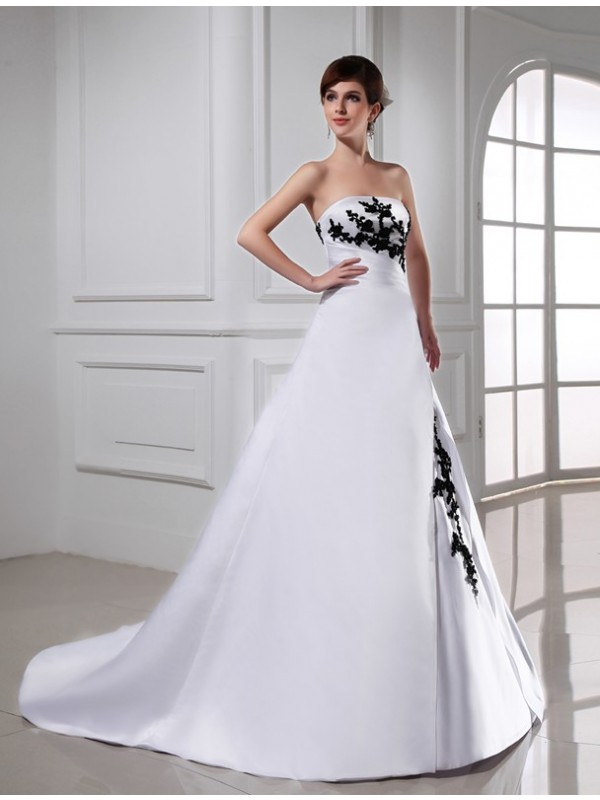Modest A-Line Strapless Sleeveless Long Satin Wedding Dress