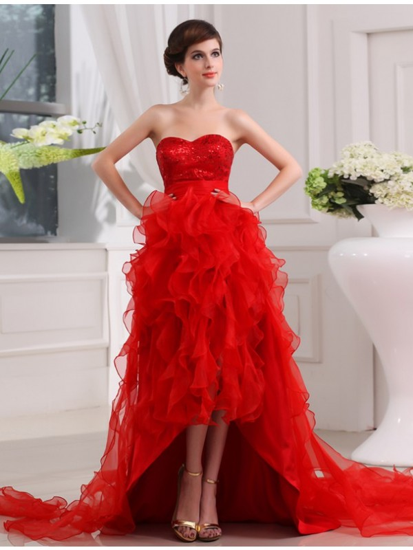 Hot Sale A-Line Sequin Sweetheart Sleeveless High Low Organza Dress