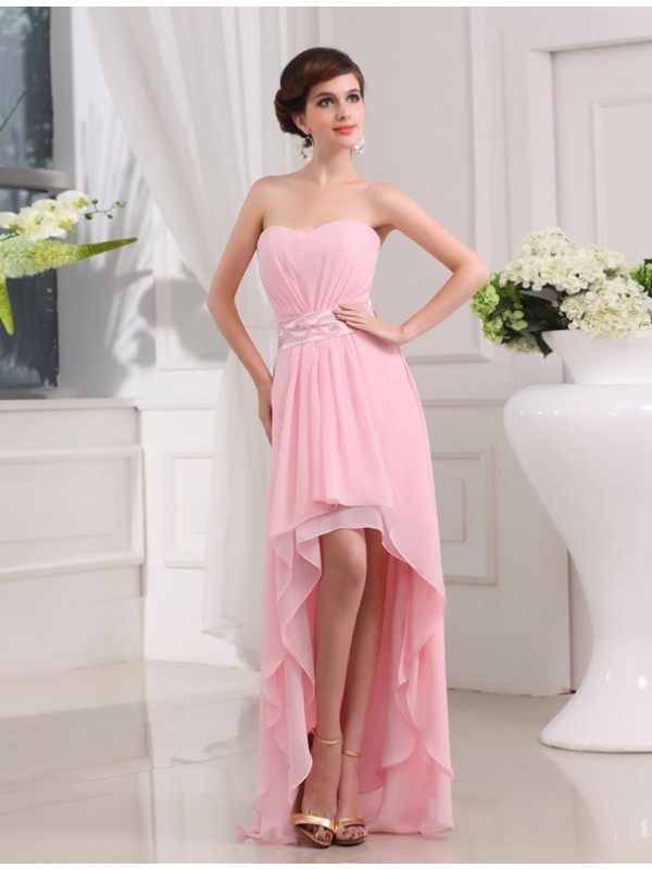 Hot Sale A-Line Sweetheart Sleeveless High Low Chiffon Dress