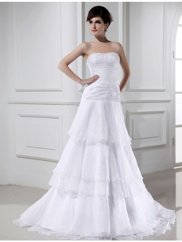Beautiful A-Line Sleeveless Organza Strapless Long Wedding Dress