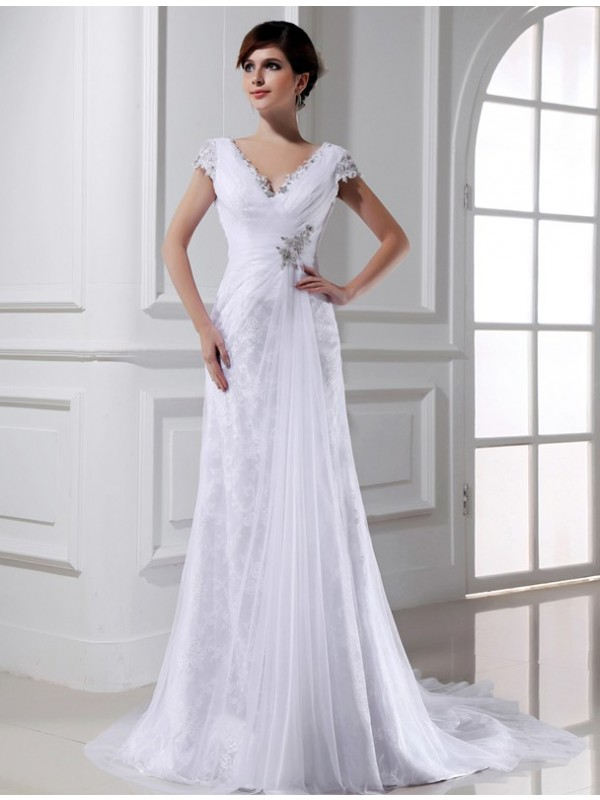 Beautiful A-Line V-neck Long Sleeveless Tulle Wedding Dress