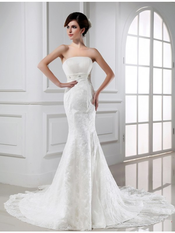 Beautiful Mermaid Strapless Sleeveless Lace Tulle Wedding Dress