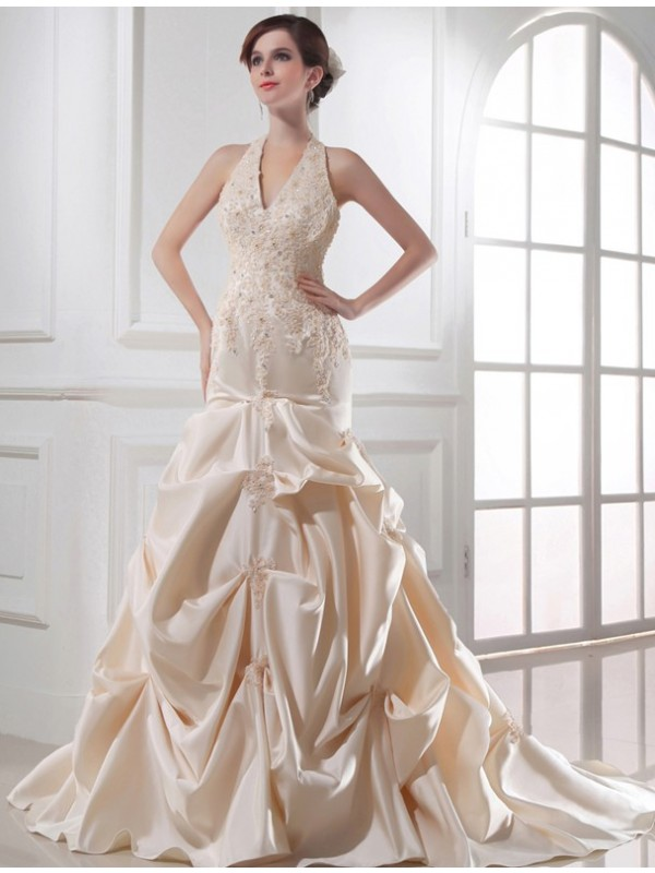 Beautiful Mermaid Halter Sleeveless Satin Wedding Dress