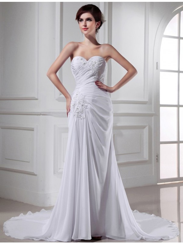 Beautiful Mermaid Sweetheart Sleeveless Chiffon Long Wedding Dress