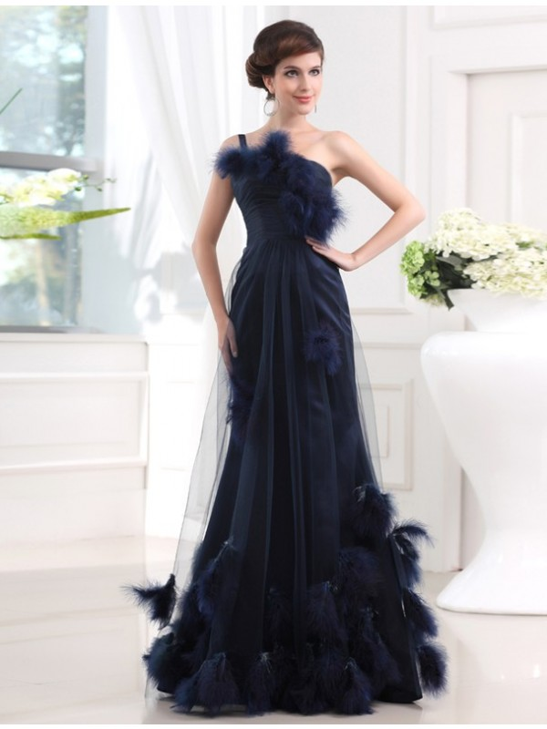 Modest Mermaid One-shoulder Sleeveless Long Satin Tulle Dress