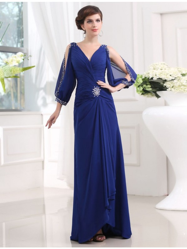 Modest Sheath 3/4 Sleeves V-neck Long Chiffon Dress