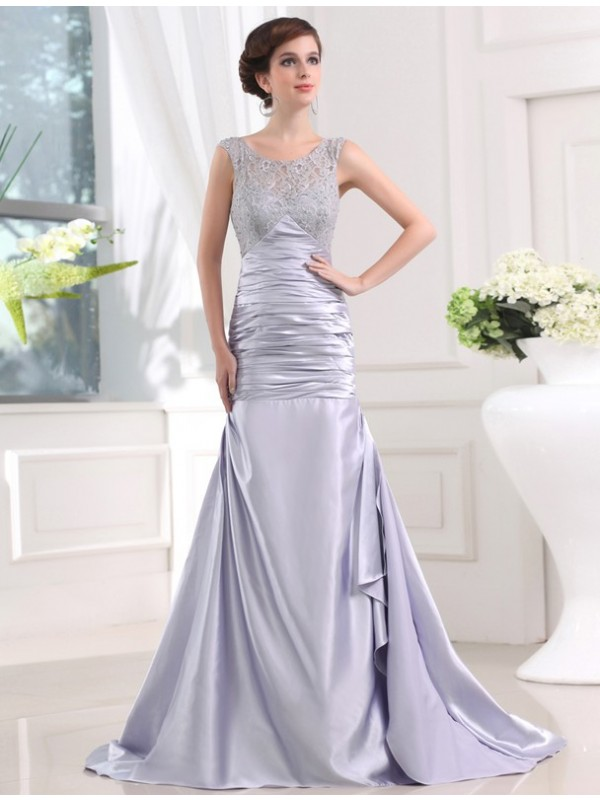 Hot Sale Mermaid Sleeveless Elastic Woven Satin Long Dress