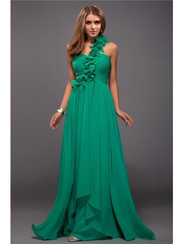 Hot Sale Sheath One Shoulder Sleeveless Long Chiffon Dress