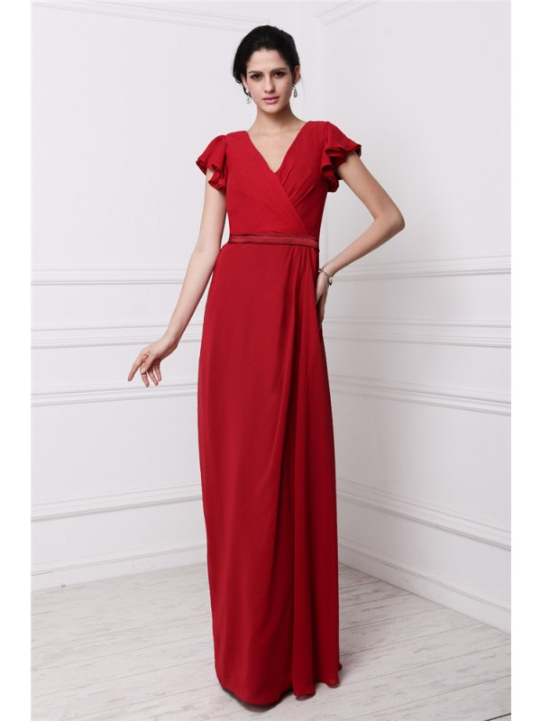Gorgeous Sheath V-neck Short Sleeves Long Chiffon Bridesmaid Dress