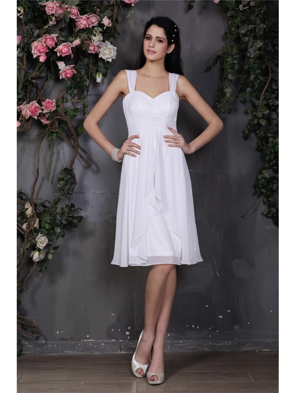 Gorgeous Sheath Straps Sleeveless Short Chiffon Bridesmaid Dress