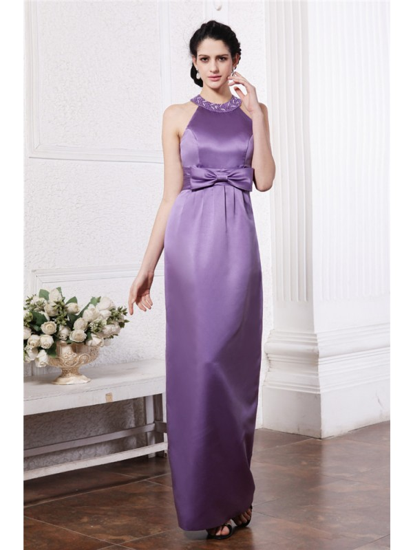 Gorgeous Sheath Scoop Sleeveless Long Elastic Woven Satin Bridesmaid Dress