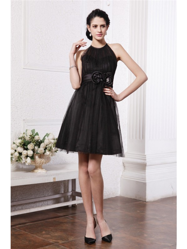 Hot Sale A-Line Scoop Sleeveless Short Net Cocktail Dress