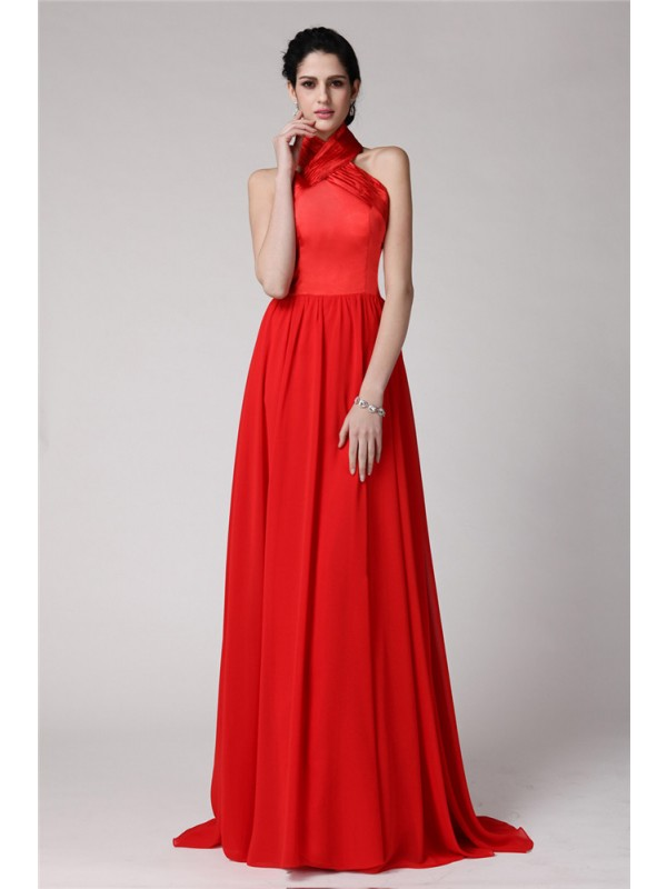 Gorgeous Sheath Halter Sleeveless Long Elastic Woven Satin Chiffon Bridesmaid Dress
