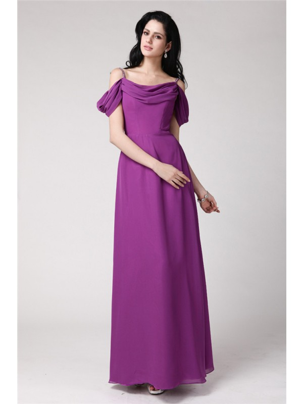Gorgeous Sheath Sleeveless Spaghetti Straps Long Chiffon Bridesmaid Dress