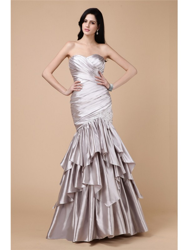Hot Sale Mermaid Strapless Sleeveless Long Elastic Woven Satin Dress