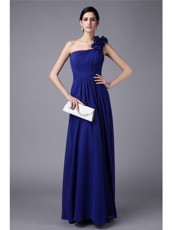 Gorgeous Sheath One-Shoulder Sleeveless Long Chiffon Bridesmaid Dress