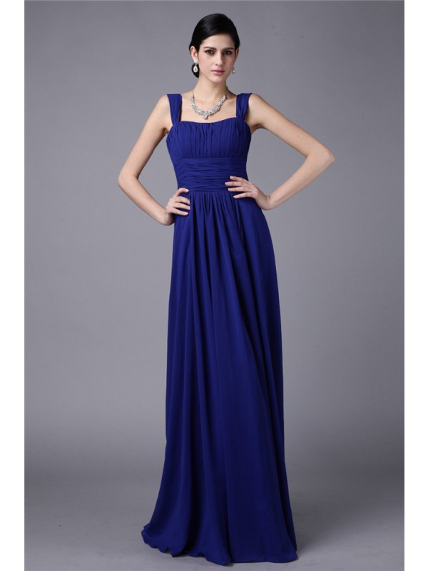 Gorgeous Sheath Straps Sleeveless Long Chiffon Bridesmaid Dress