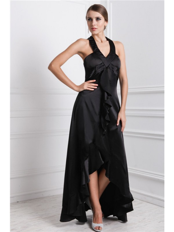 Modest A-Line Bateau Sleeveless High Low Silk like Satin Dress