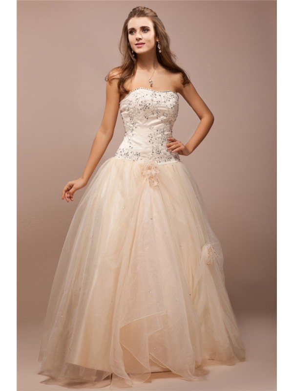 Modest Ball Gown Strapless Sleeveless Lace Long Net Satin Dress