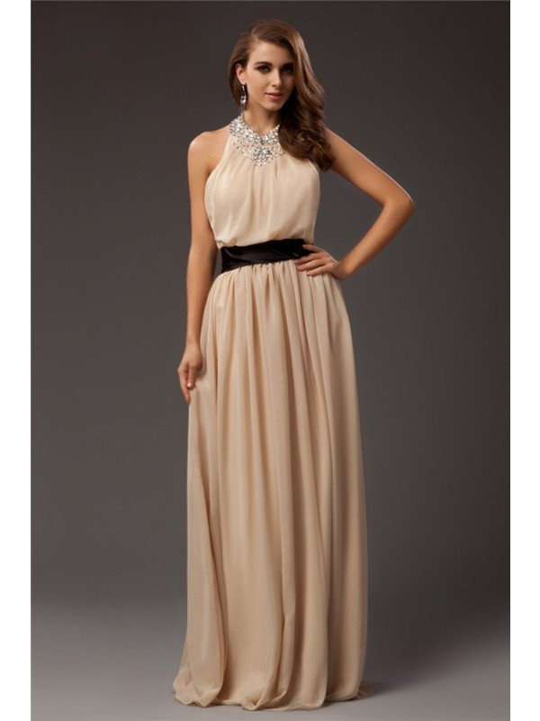 Modest Sheath Jewel Sleeveless Long Chiffon Dress