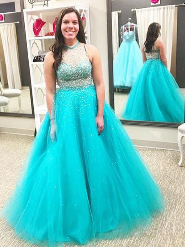 Exquisite Ball Gown High Neck Sleeveless Floor-Length Tulle Plus Size Dress