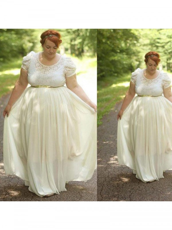 Charming A-Line Scoop Short Sleeves Lace Floor-Length Chiffon Plus Size Dress