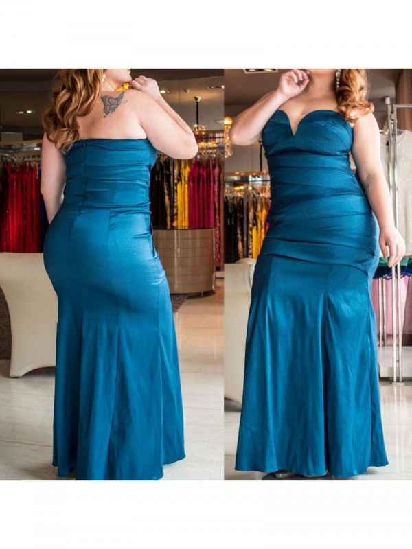 Charming Mermaid Sweetheart Sleeveless Floor-Length Elastic Woven Satin Plus Size Dress