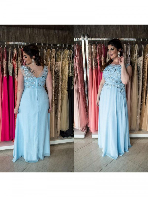 Charming A-Line Bateau Sleeveless Floor-Length Chiffon Plus Size Dress