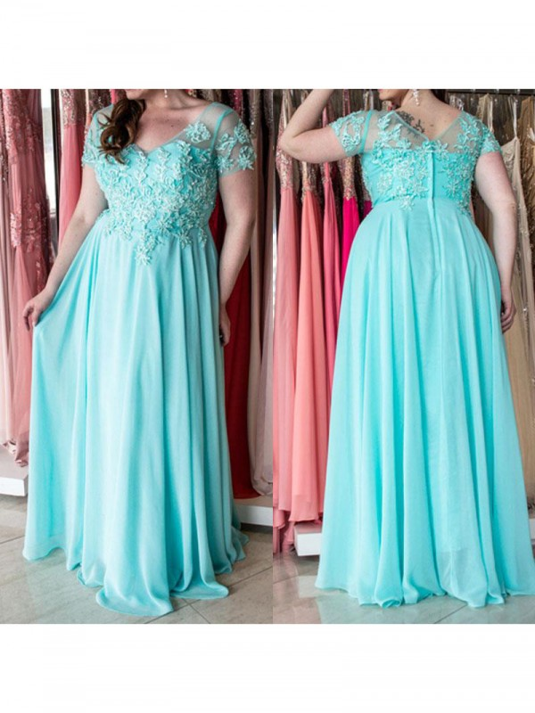 Charming A-Line Sweetheart Short Sleeves Floor-Length Chiffon Plus Size Dress