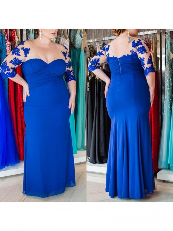 Charming Sheath Sweetheart 1/2 Sleeves Floor-Length Chiffon Plus Size Dress