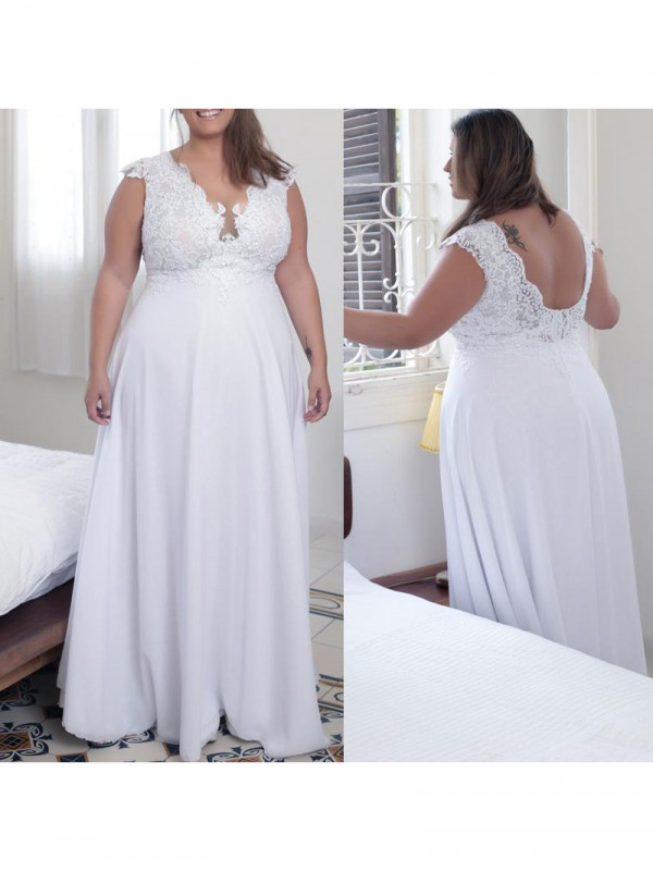 Charming A-Line V-neck Sleeveless Floor-Length Chiffon Plus Size Dress