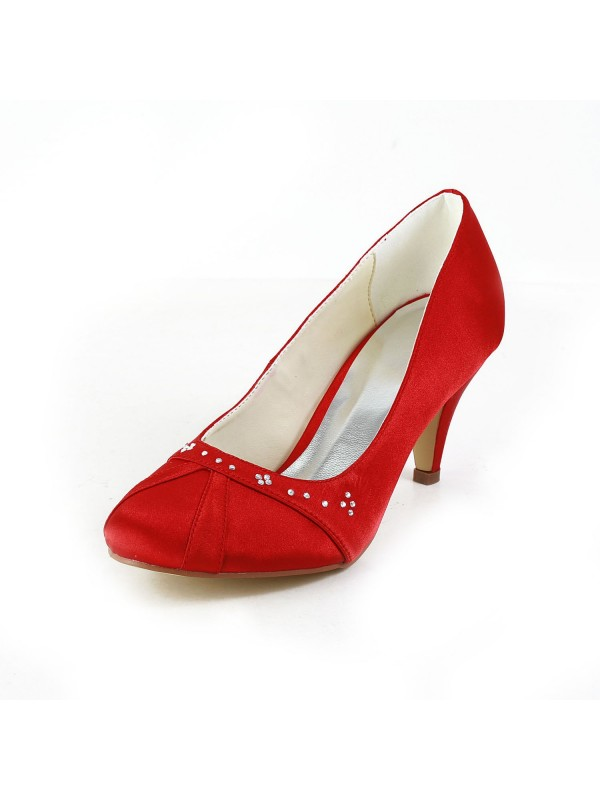 Exquisite Women Satin Cone Heel Closed Toe Red Wedding Shoes