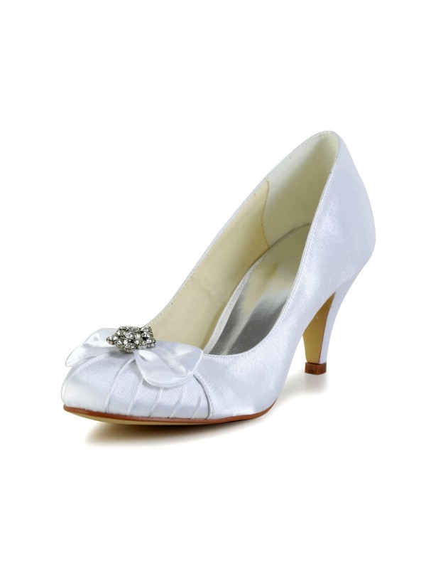 Exquisite Women Satin Cone Heel Closed Toe White Wedding Shoes