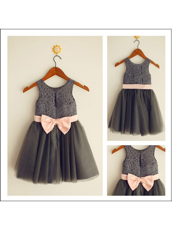 Gorgeous A-Line Scoop Sleeveless Bowknot Tea-length Tulle Flower Girl Dress