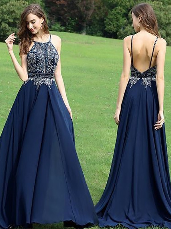 Fashion A-Line Sleeveless Halter Chiffon Floor-Length Dress