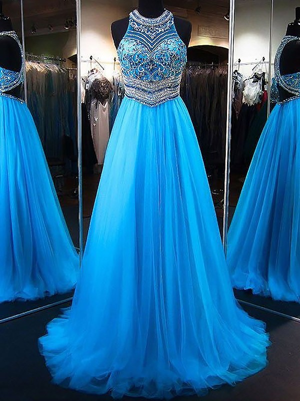 Fashion A-Line Jewel Sleeveless Sweep/Brush Train Tulle Dress