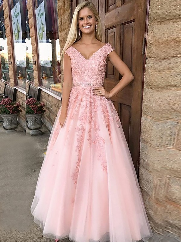 Fashion A-Line V-Neck Sleeveless Floor-Length Tulle Dress