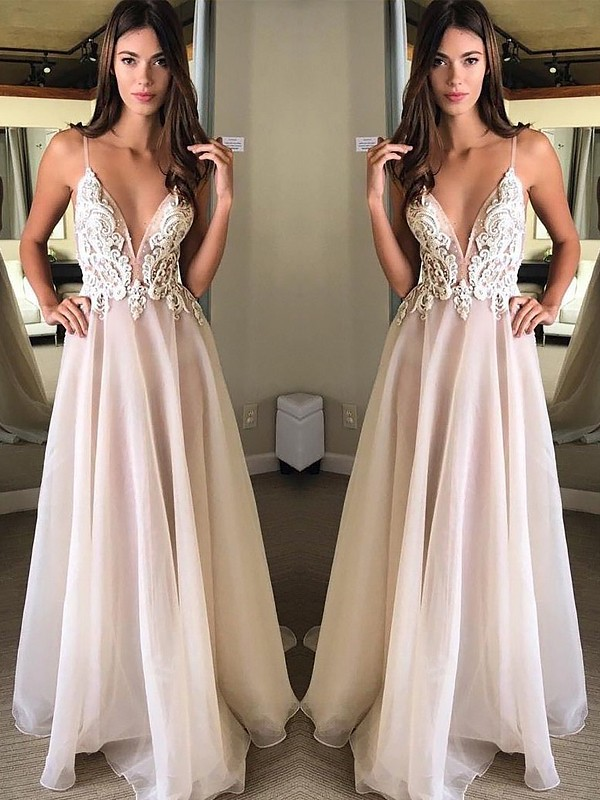 Gorgeous A-Line Spaghetti Straps Sleeveless Sweep/Brush Train Chiffon Dress