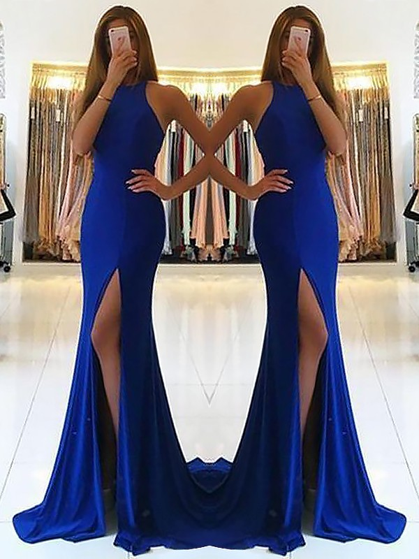 Gorgeous Sheath Halter Sleeveless Sweep/Brush Train Elastic Woven Satin Dress