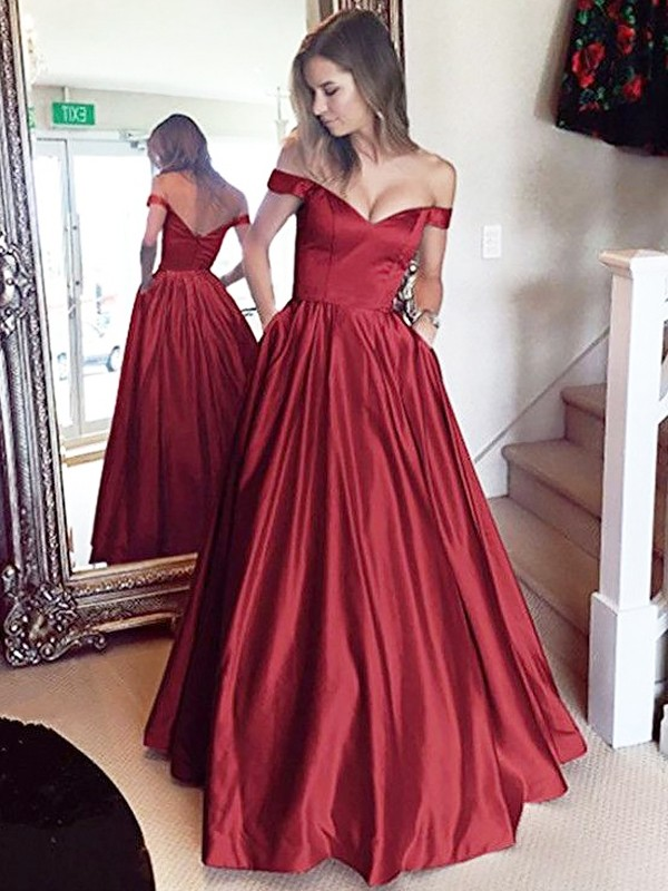 Gorgeous A-Line Off-the-Shoulder Sleeveless Floor-Length Satin Dress