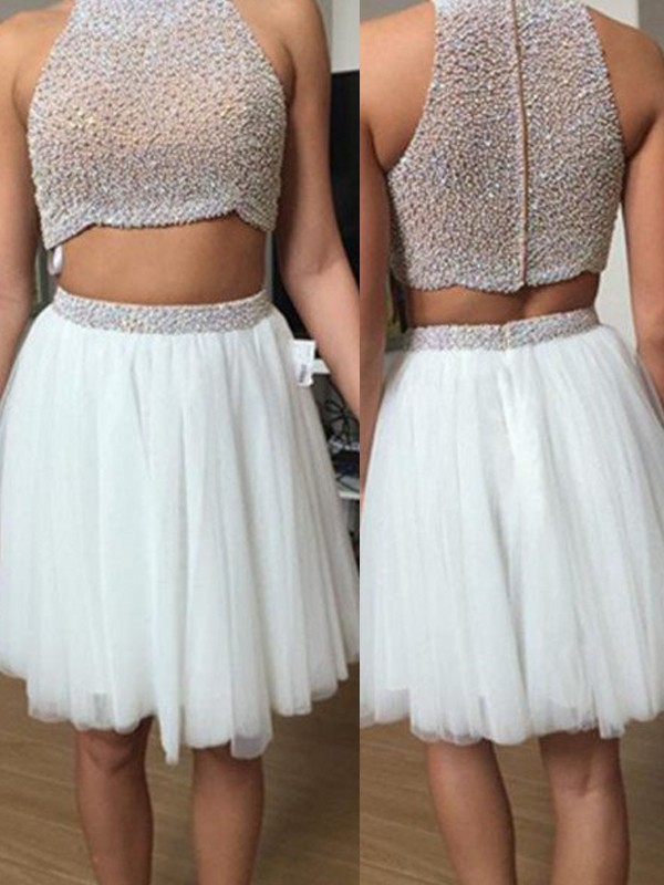 Perfect A-Line Sleeveless High Neck Tulle Short/Mini Two Piece Dress