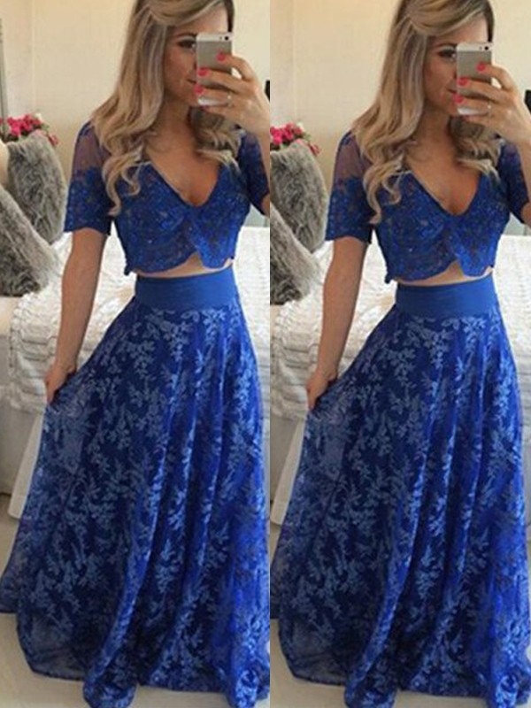 Perfect A-Line V-neck Short Sleeves Floor-Length Lace Two Piece Dress