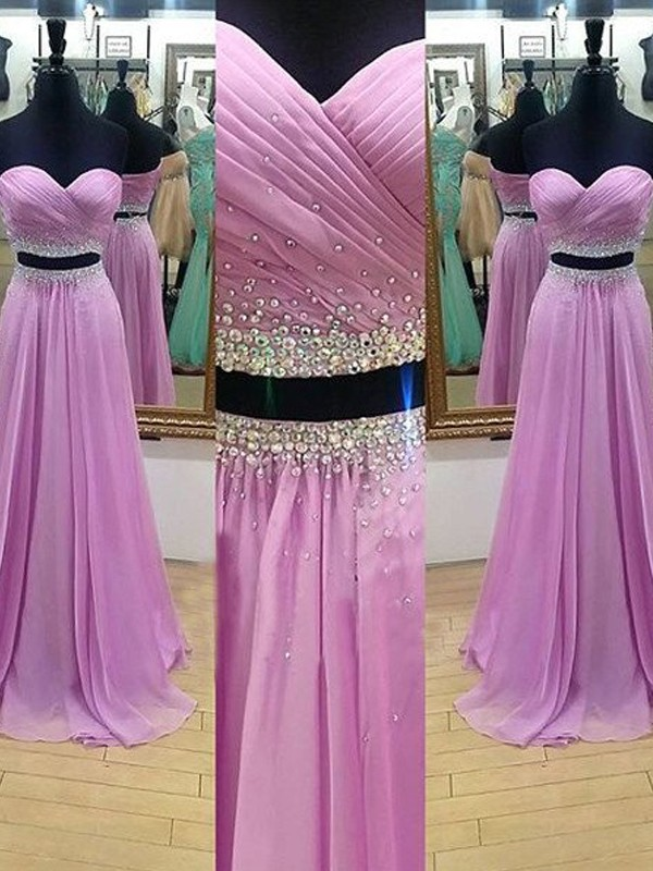 Perfect A-Line Sweetheart Sleeveless Floor-Length Chiffon Two Piece Dress