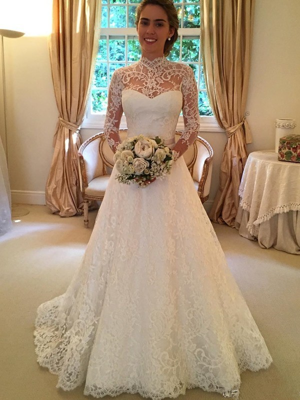 Affordable Ball Gown High Neck Long Sleeves Lace Court Train Wedding Dress