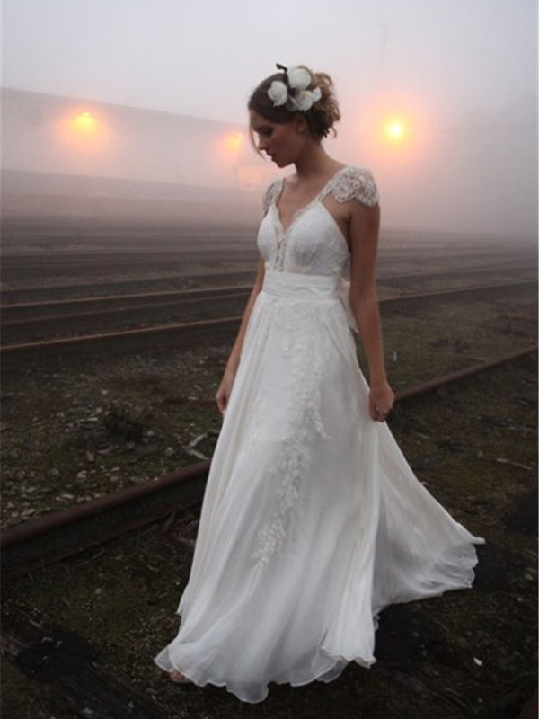 Affordable A-Line V-neck Floor-Length Sleeveless Lace Chiffon Wedding Dress