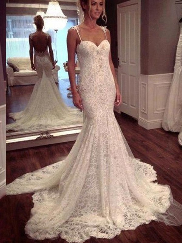 Affordable Mermaid Sleeveless Court Train Spaghetti Straps Lace Wedding Dress