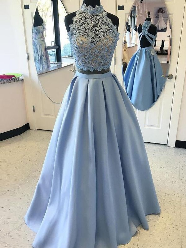 Perfect Ball Gown High Neck Sleeveless Floor-Length Satin Two Piece Dress